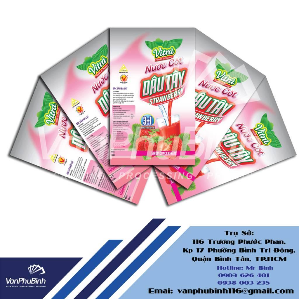Nhãn màng co nước cốt dâu tây - Công ty Vạn Phú Bình