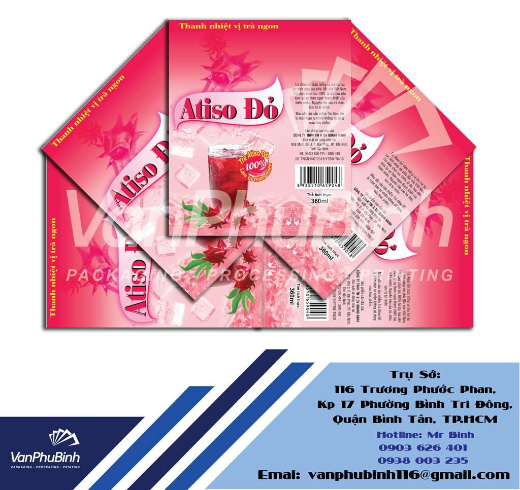 Tem Nhãn chai nước giải khát Atiso Đỏ - Công ty in màng co nhãn chai giá rẻ Vạn Phú Bình