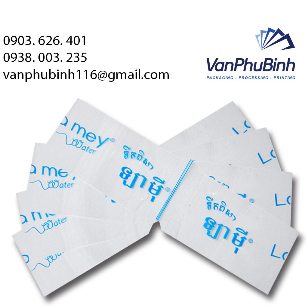 Màng co đầu chai nước Campuchia - Công ty in màng co Vạn Phú Bình