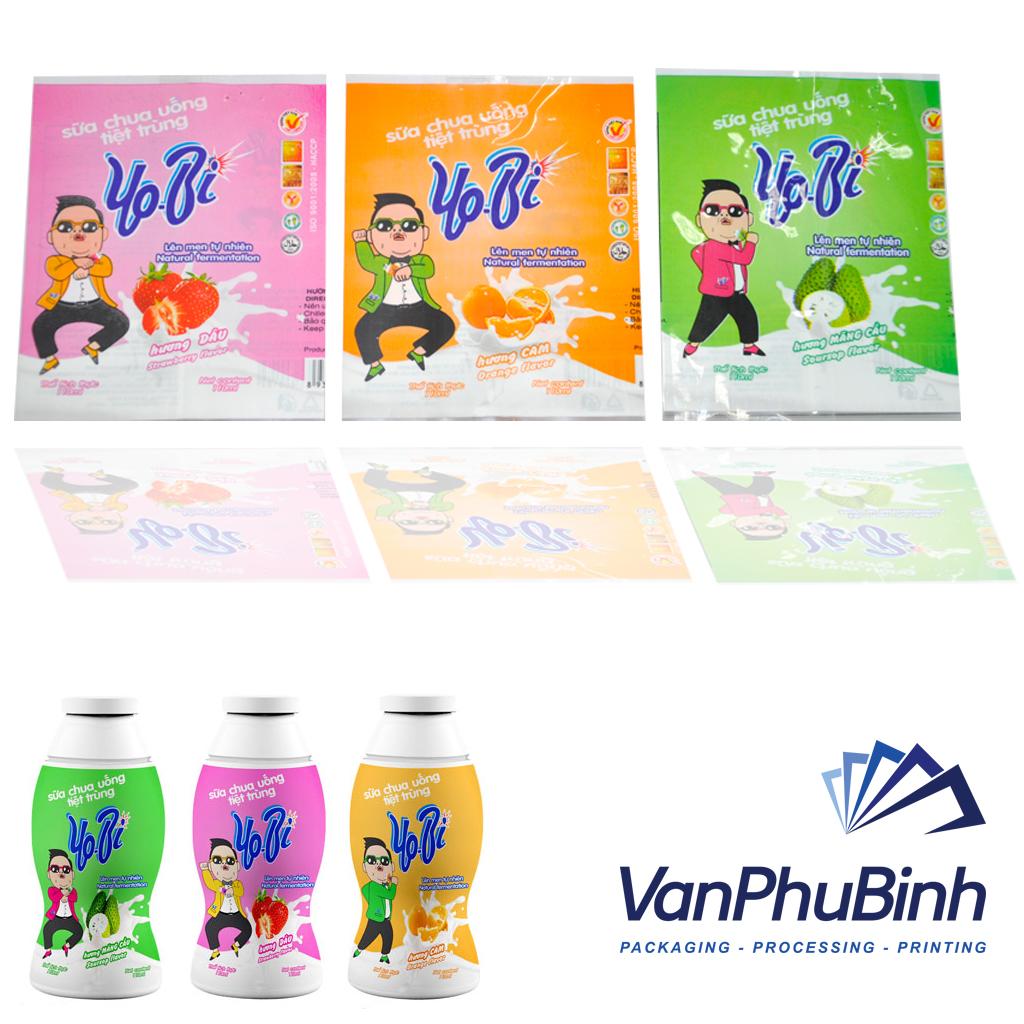 Màng co nhãn chai sữa chua uống - Công ty in màng co giá rẻ tphcm
